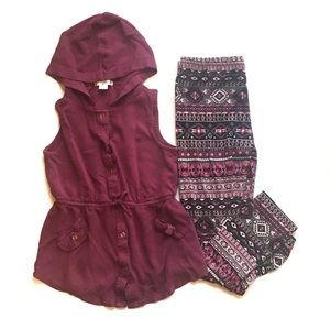 Knit Works 2 Piece Lot Hoodie Vest with Leggings L